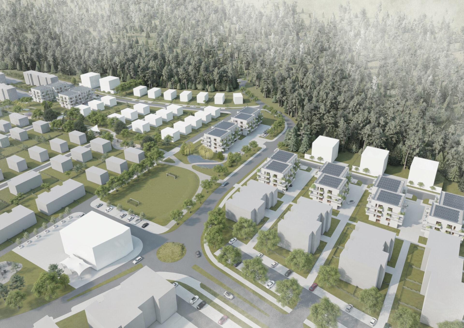 Park s mokřady, zelené domy. Studentka navrhla unikátní čtvrť