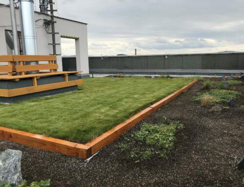 Na střeše paneláku vznikla zahrada se záhonky i pískovištěm pro děti